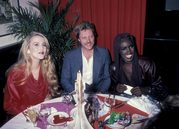 Allison Doody, Chris Walken and Grace Jones at AVTAK party, May 1985