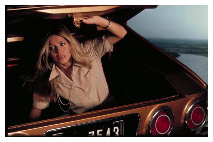 Мэри Гуднайт открывает багажник