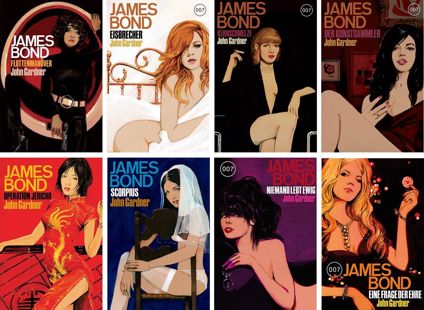 обложки немецких изданий романов Джона Гарднера